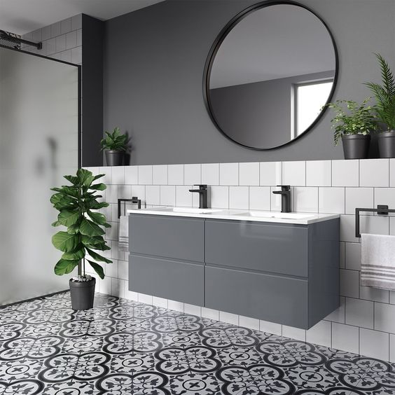 Modern his & hers Bathroom with double wall hung basin and matt black accessories