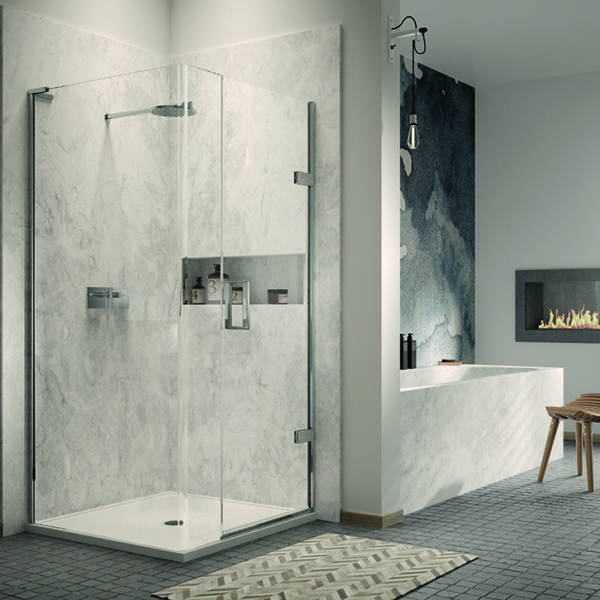 Matki square hinged shower enclosure with gloss white tray and centre waste