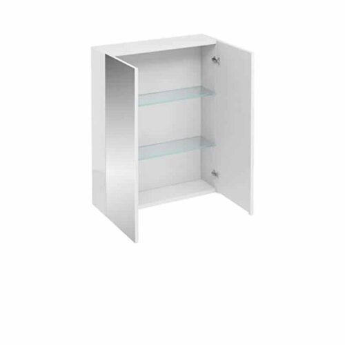 AC40W Britton 2 Door Wall Unit with Mirrored Doors White