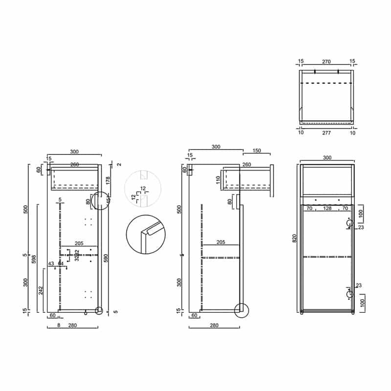 AD32L Britton 1 Door Base Unit & Drawer Technical Drawing