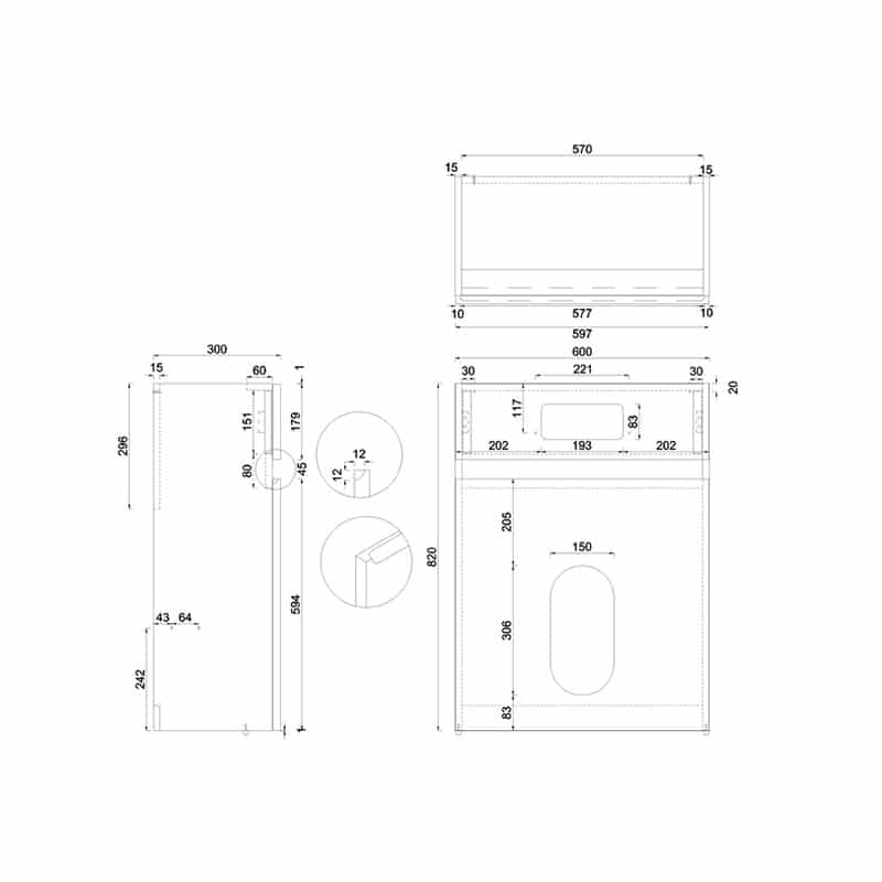 AW32WW33A Britton Toilet Unit with Flush Plate for Wall Hung Toilets Technical Drawing