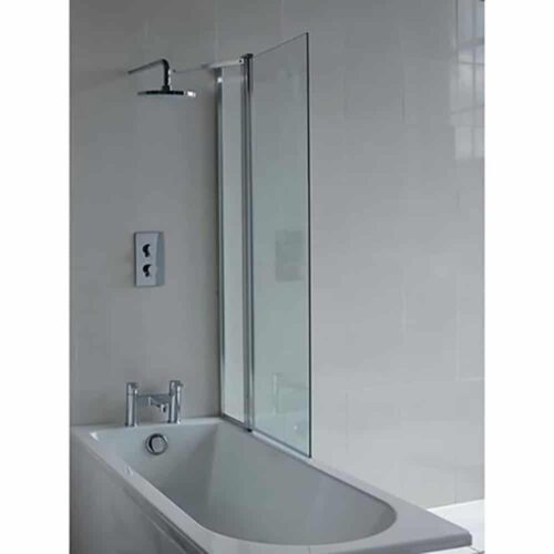 BS2 Britton Cleargreen Hinged Bath Screen with Fixed Panel Chrome