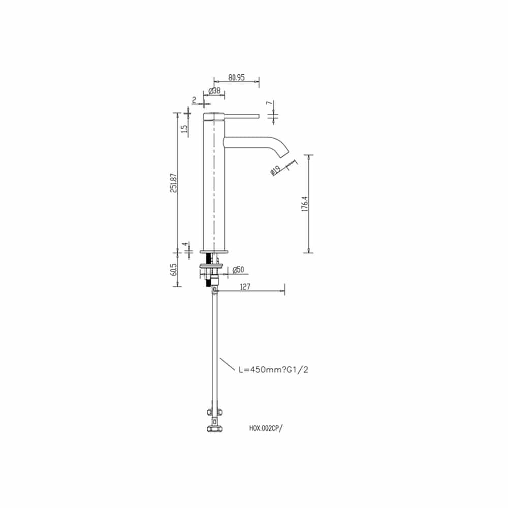 HOX002MB Britton Hoxton Tall Monobloc Basin Mixer Matt Black Technical Drawing