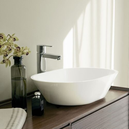 B5ECS Clearwater Sontuoso ClearStone Sit-On Basin White