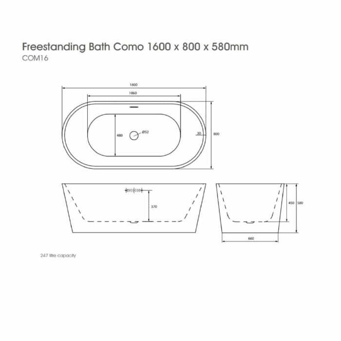 COM16 The White Space Como Freestanding Bath Technical Drawing