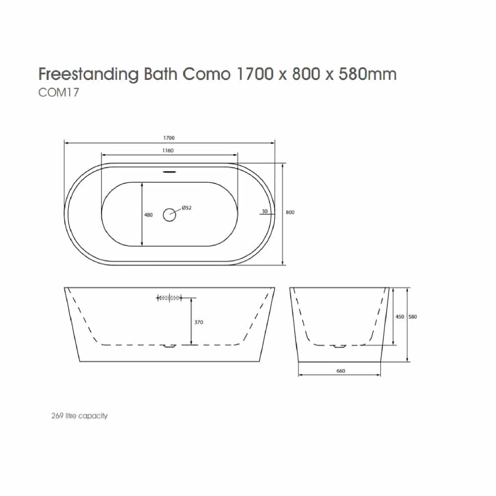 COM17 The White Space Como Freestanding Bath Technical Drawing