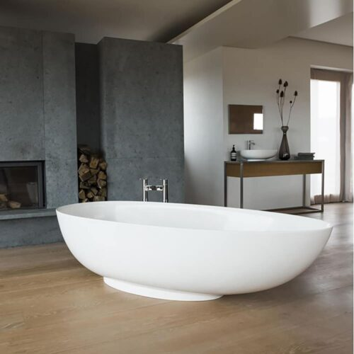 M11FCS+CW13 Clearwater Teardrop Grande  Clear Stone Freestanding Bath White