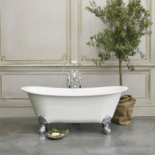 N10CS+CW13+L1W Clearwater Battello Grande Natural Stone Freestanding Bath White