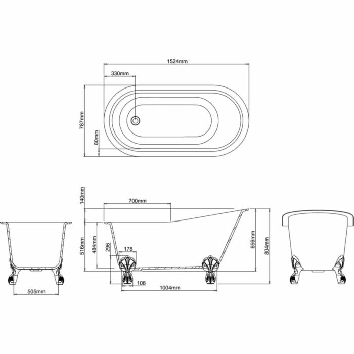 N11ACS+CW13+L1W Clearwater Romano Petite Natural Stone Freestanding Bath Technical Drawing