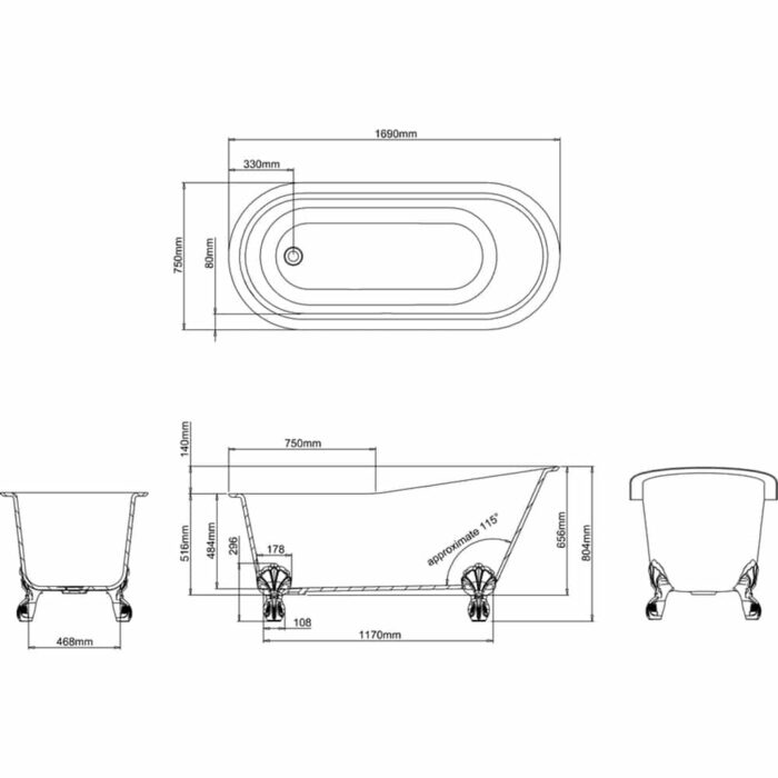 N11BCS+CW13+L1W Clearwater Romano Grande Natural Stone Freestanding Bath Technical Drawing