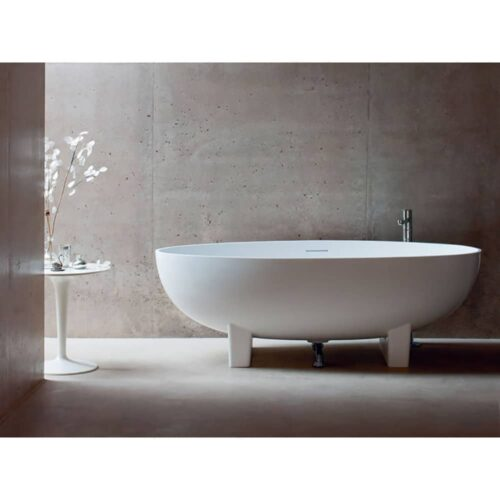 N12+CW1 Clearwater Lacrima Natural Stone Freestanding Bath White
