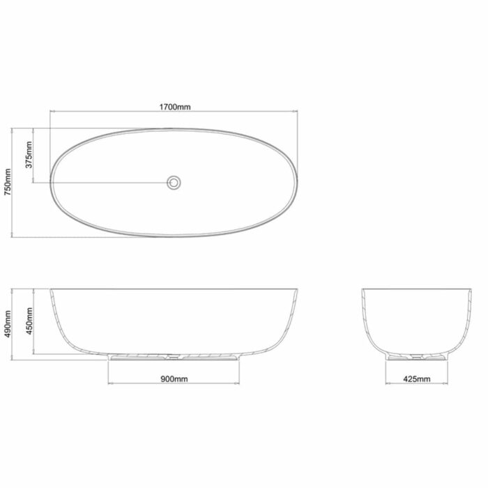 N15CS+CW13+N16PCS+N16PCS+N16PCS+N16PCS+N16PCS+N16PCS Clearwater Puro Clear Stone Freestanding Bath Technical Drawing