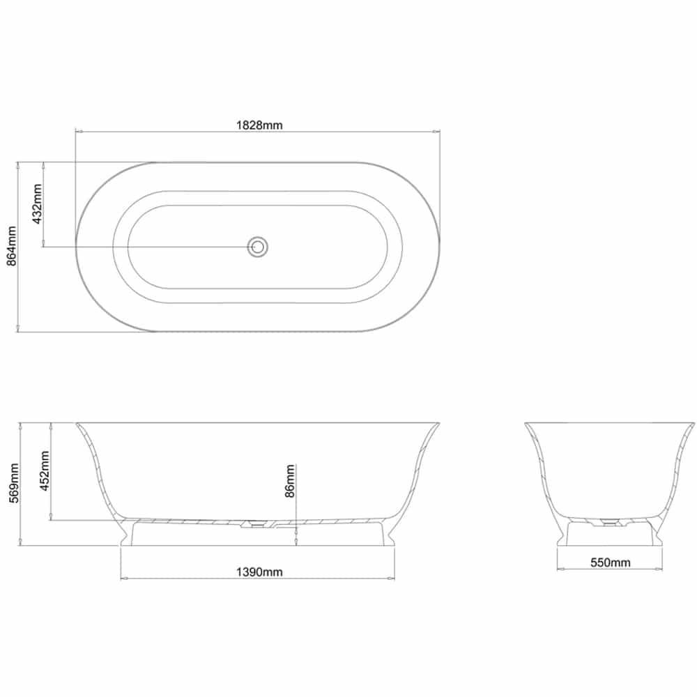 N23CS+CW13 Clearwater Florenza Clear Stone Freestanding Bath Technical Drawing