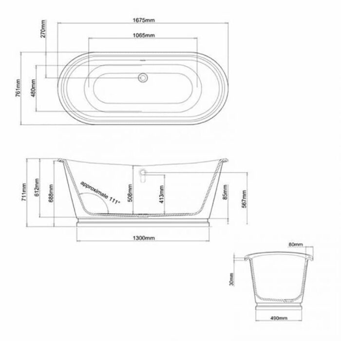 N25CSW+CW11 Clearwater Balthazar White Natural Stone Freestanding Bath Technical Drawing