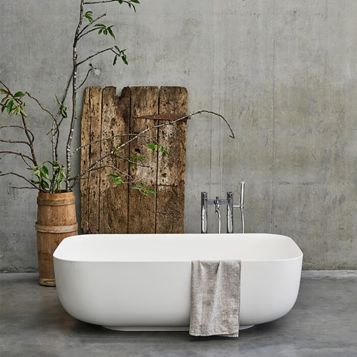 N26CS+CW13 Clearwater Duo Clear Stone Freestanding Bath White