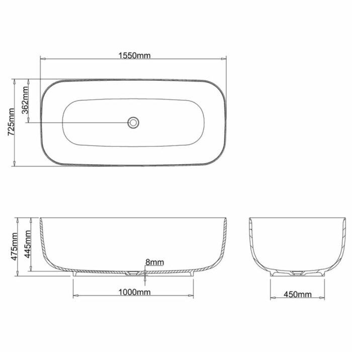 N27CS+CW13 Clearwater Uno Natural Stone Freestanding Bath Technical Drawing
