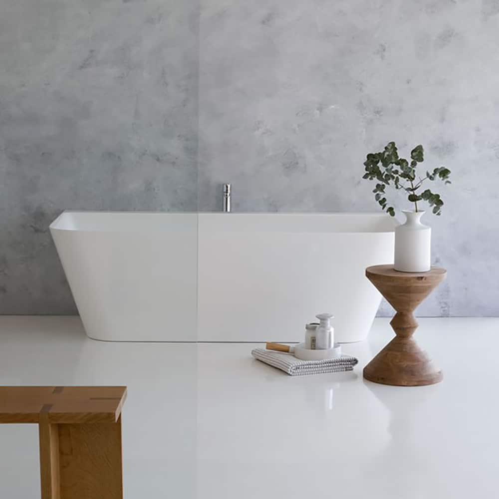 N3ACS+CW13 Clearwater Patinato Petite Clear Stone Freestanding Bath White