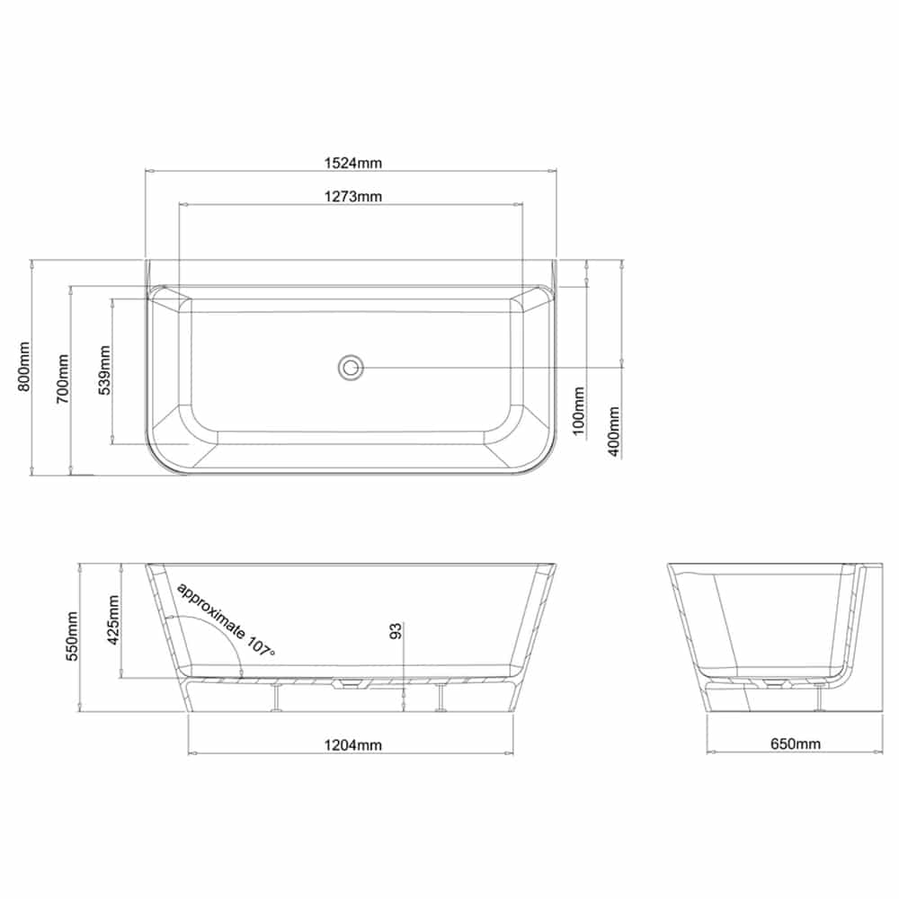 N3ACS+CW13 Clearwater Patinato Petite Clear Stone Freestanding Bath Technical Drawing