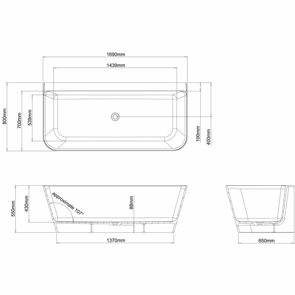 N3BCS+CW13 Clearwater Patinato Grande Clear Stone Freestanding Bath Technical Drawing