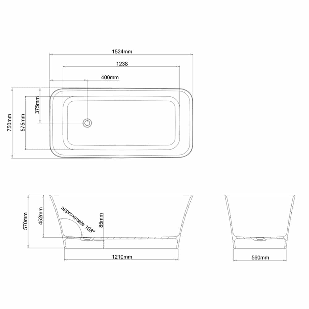 N4CCS+CW13 Clearwater Palermo Petite Clear Stone Freestanding Bath Technical Drawing
