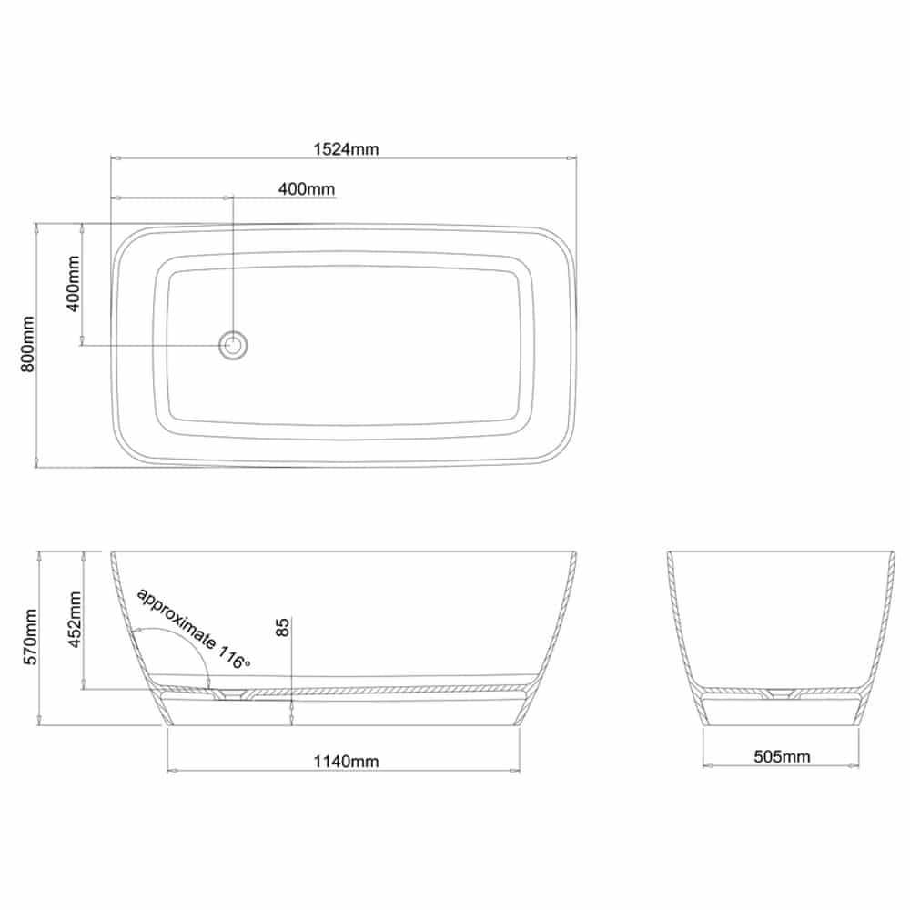 N6DCS+CW13 Clearwater Vicenza Petite Clear Stone Freestanding Bath Technical Drawing
