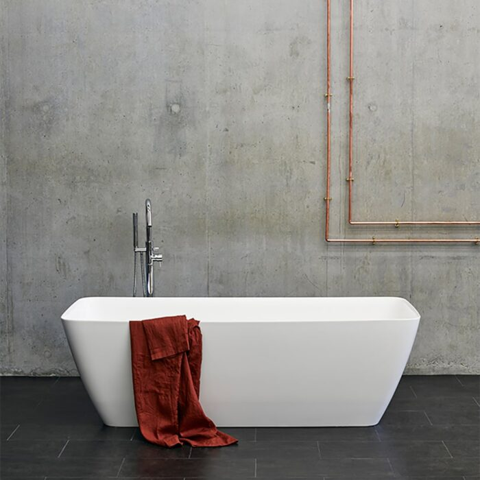 N7DCS+CW13 Clearwater Vicenza Grande Clear Stone Freestanding Bath White
