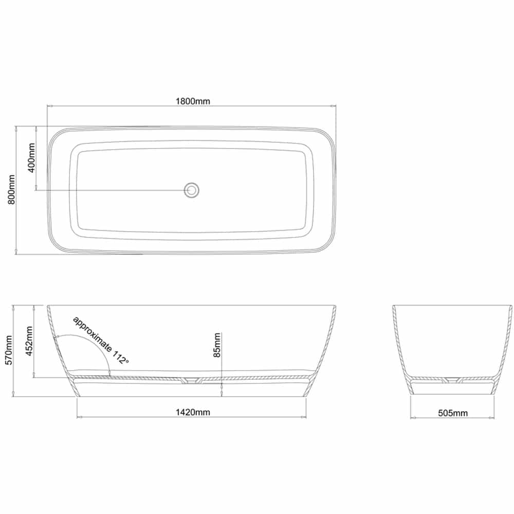 N7DCS+CW13 Clearwater Vicenza Grande Clear Stone Freestanding Bath Technical Drawing