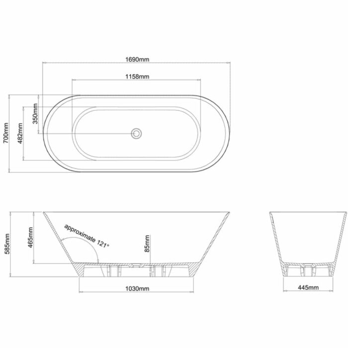 N8ECS+CW13 Clearwater Sontuoso Clear Stone Freestanding Bath Technical Drawing