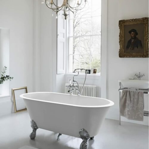 N9CS+CW13+L1W Clearwater Classico Grande Natural Stone Freestanding Bath White