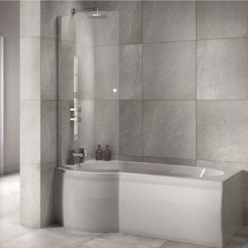SOB61+SOB63+SOB64+SOB51 Sommer P Shaped Shower Bath White