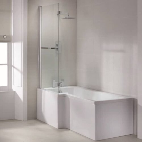 SOB71+SOB73+SOB74+SOB54 Sommer L Shaped Shower Bath White