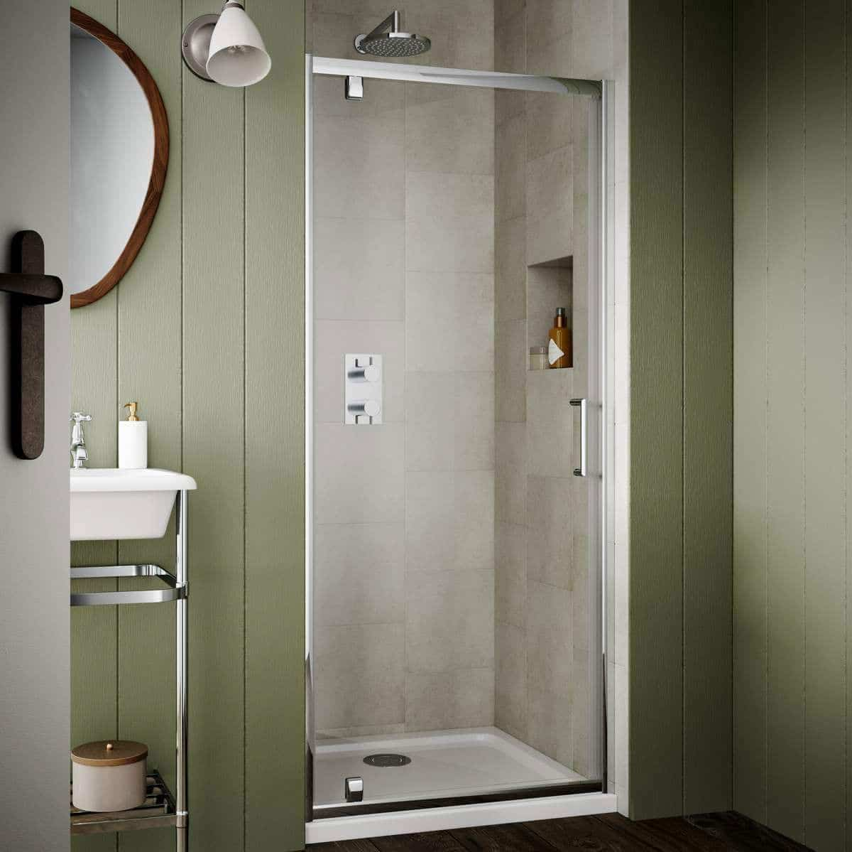 SOS25+SOS96+SOS47 Sommer 6 Pivot Shower Door Chrome
