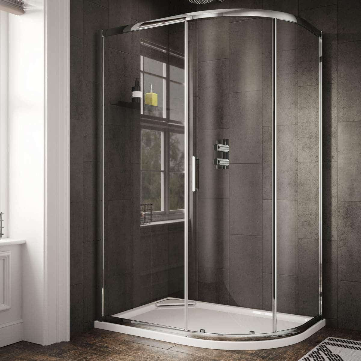 SOS65+SOS47 Sommer 6 Offset Single Door Quadrant Shower Enclosure Chrome