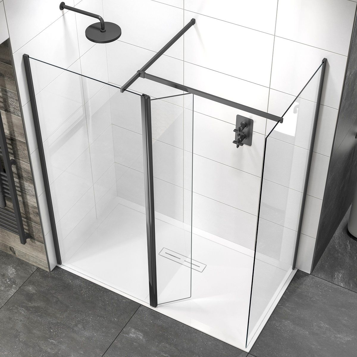 SOWBK14+SOWBK01+SOWBK40 Sommer Wet room Glass Panel - Black Black