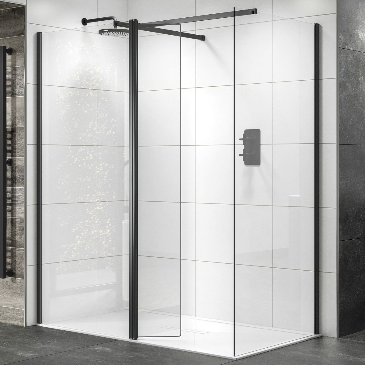 SOWBK14+SOWBK01+SOWBK40 Sommer Wet room Glass Panel - Black Black_2