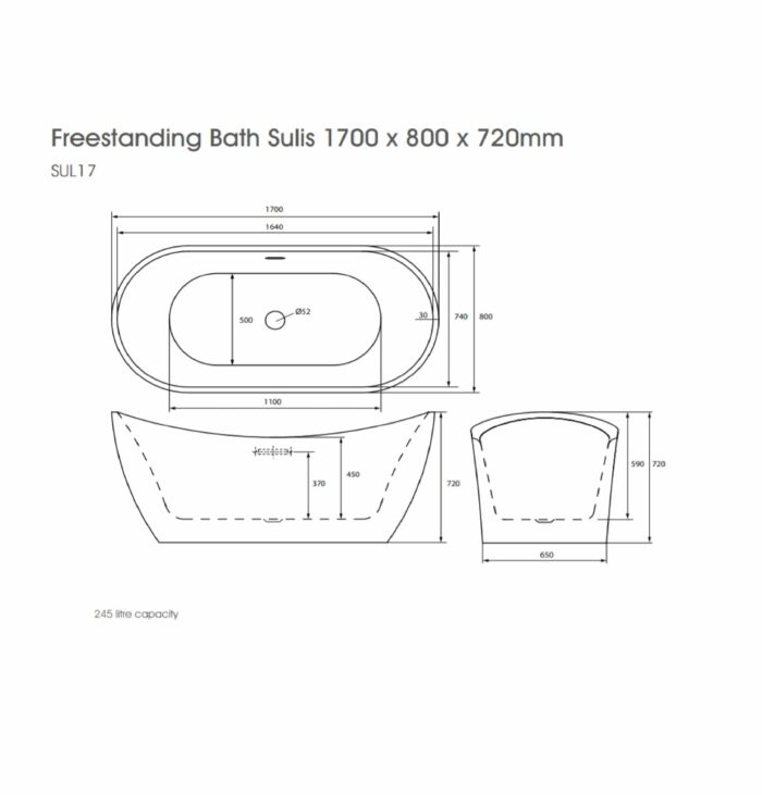 SUL17 The White Space Sulis Freestanding Bath Technical Drawing