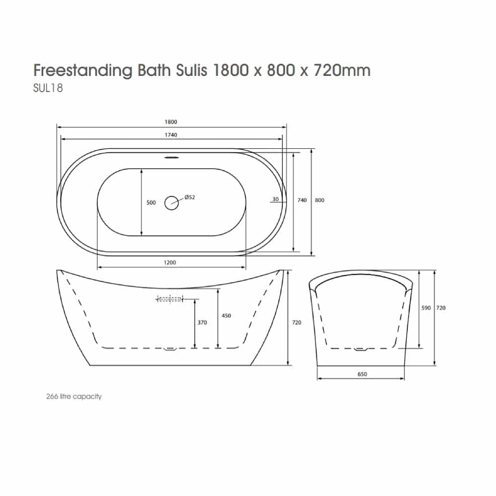 SUL18 The White Space Sulis Freestanding Bath Technical Drawing