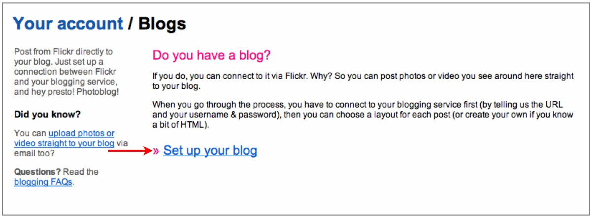 Set Up Your Blog on Flickr