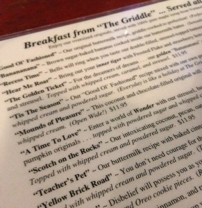 Griddle Cafe menu
