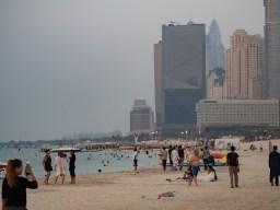 Dubai Beach with dramatic city skyscrapers, Olympus 45mm f1.8