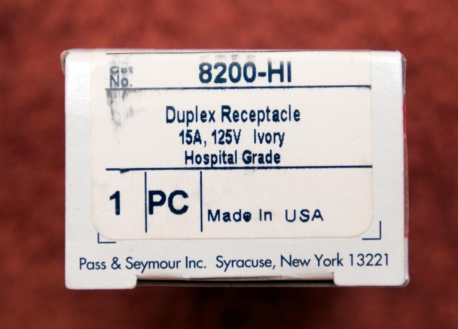 hight resolution of pass seymour 8200hi hospital grade duplex receptacle