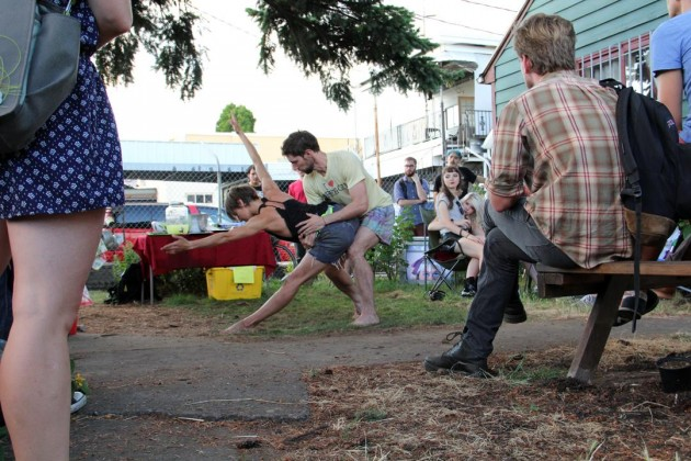 Playing in the yard. The camper is out of the frame, unfortunately! Elise Knudsen and Luke Gutsgell.