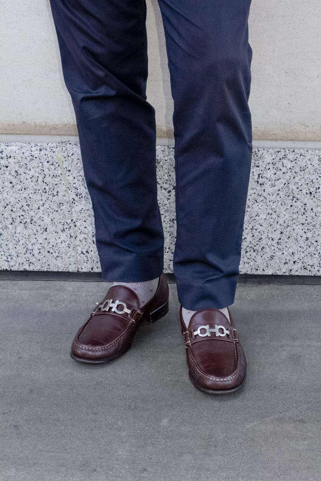 salvatore ferragamo shoes and a pattern outfit