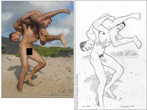 """Sam and Kawai wrestling, and the sketch (""""Temporary Victory"""") that came from it"""