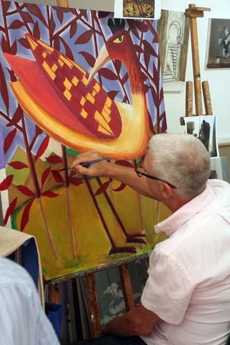 Pintando en un curso de pintura en el taller de Dougnac - Málaga