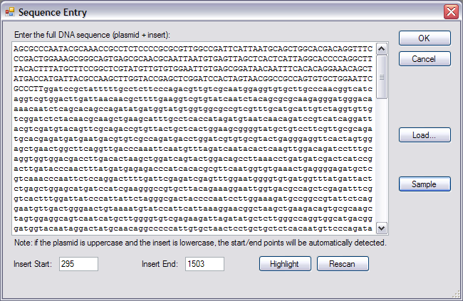Sequence Entry Form