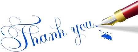 12448578 - red fountain pen writes thank you note words in blue ink