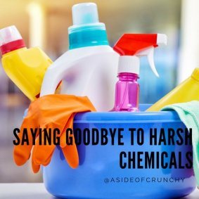 cleaning bucking filled with cleaning products with harsh chemicals