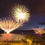 支笏湖湖水まつり部屋から花火