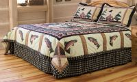 7pc Gone Trout Fishing Quilted Pathwork Bedding Set